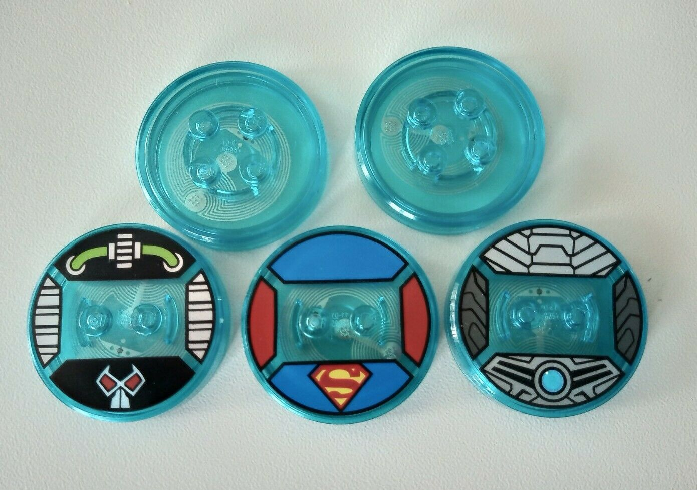 5x Lego Dimensions Toy Tags Discs including Superman Cyberman Bane & Blue Blanks