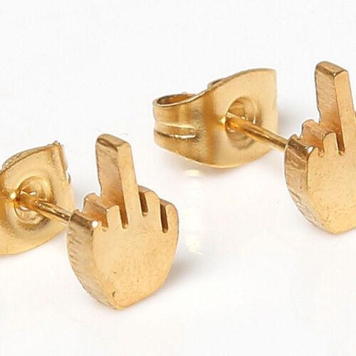 Middle Finger Earrings Funny Novelty Steel Swear Up Yours Silver Tone Studs FI