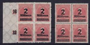 DR-Mi-Nr-312-A-312-B-4er-Blocks-Infla-Ziffer-1923-postfrisch-MNH