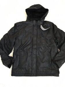 Veste manteau XL végétal en taille cuir noir à capuche e29IYEHDW