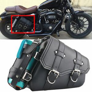 Motorcycle Left Side Saddle Bags PU Black Tool Bag For Harley Davidson Sportster