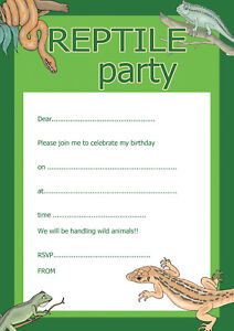 Childrens Birthday Invitations X 20 A5 With Envelopes Reptile