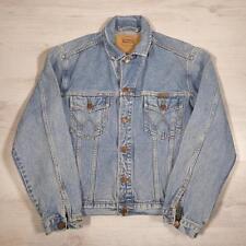 Men's WRANGLER Vintage Stonewashed Blue Slim Fit Denim Trucker Jacket XXL #D4303