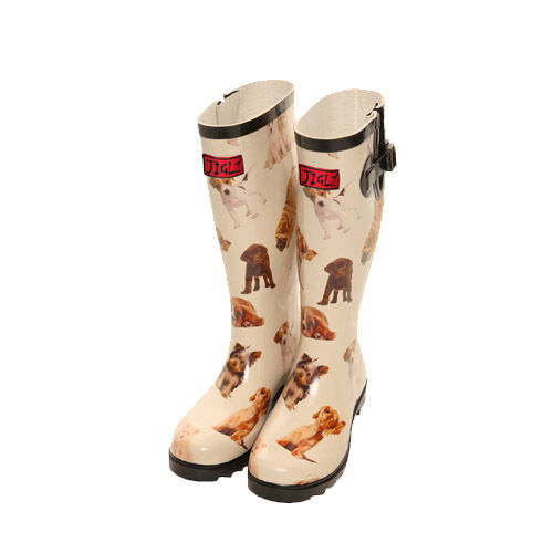 CUTE DOG PRINT FUNKY WELLIES WELLINGTON BOOTS FESTIVALS AND DOG WALKING