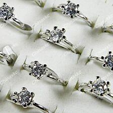 Wholesale jewelry lots 10pcs 100% Pure Zircon silver Fashion Rings freeshipping