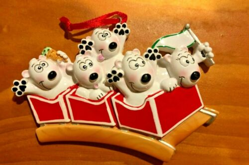 Rollercoaster Family of 5 POLAR X Personalizable Christmas Tree Ornament