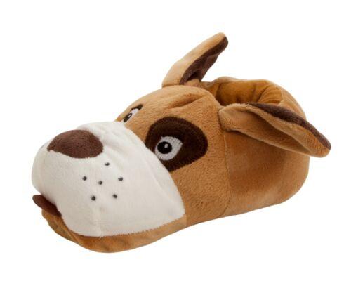 BOYS 3D DOG CHARACTER SOFT /& COSY SLIP ON NOVELTY SLIPPERS KIDS UK SIZE 10-6