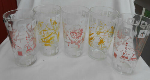 HAZEL ATLAS FANTASY CHILDREN TUMBLERS 5 ANTIQUE PIRATES TEPEE VINTAGE