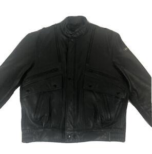 Hein Gericke Mens Black leather motorcycle motor biker jacket Size 44 EUC