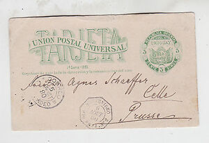 1880 3c stationery card from montevideo to prussia germany via fr.P.O.rare! @23