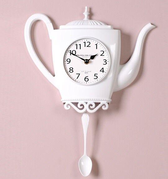Modern Spoon Pendulum Kettle Wall Clock Art Decor Metal Kitchen Clock -  M100WH