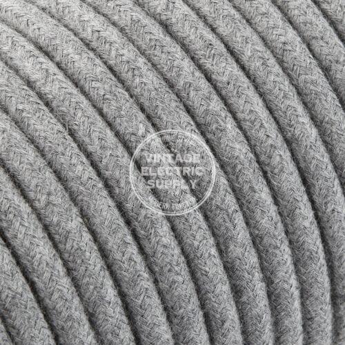 Grey Round Raw Yarn Cloth Covered Electrical Wire Braided Yarn Fabric Wire