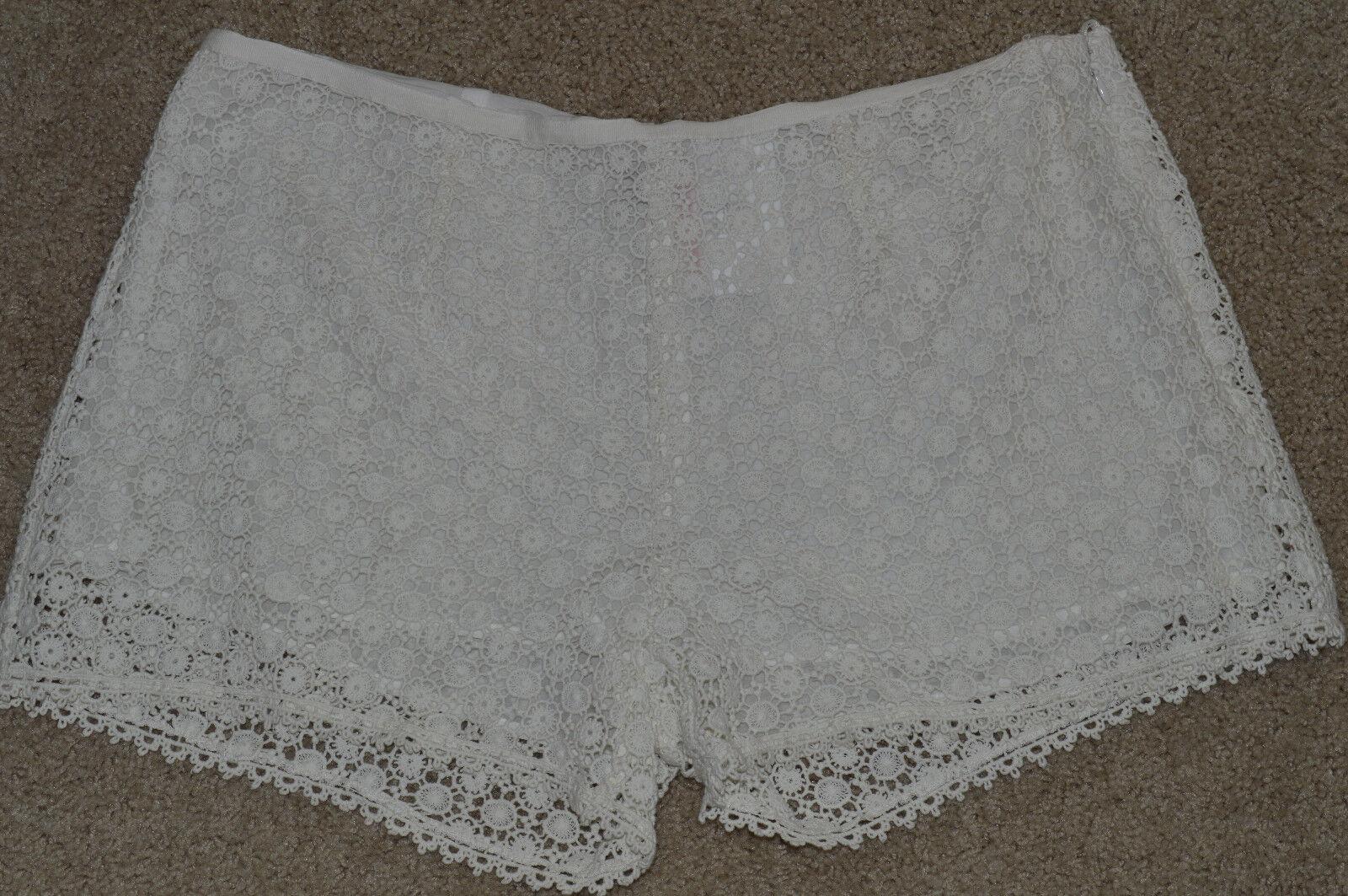 NEW JOIE Shorts Lace Crochet Lined Cream Beige Porcelain 10