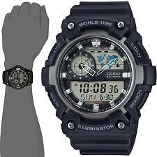 Casio AEQ200W-1A Men's World Time Telememo Analog Digital Watch Alarm Chrono Map