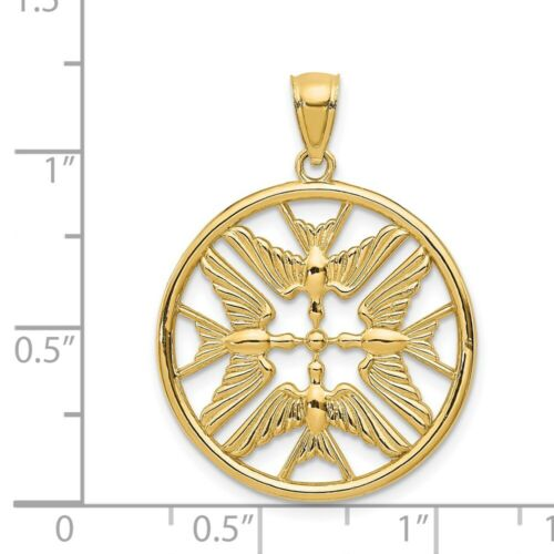 Real 14kt Yellow Gold Polished Doves in Circle Pendant