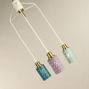 Pendel-Leuchte-farbig-bunte-Lochblech-Kaskaden-Haenge-Lampe-Vintage-50er-60er