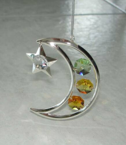 MOON /& STAR~SILVER PLATED FIGURINE MADE WITH BEST~*~AUSTRIAN CRYSTALS~*~