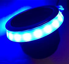 """BLUE GLOWING LED CUP HOLDER RING, FITS 3 5/8"""" CUP, BOAT CUP LED"""