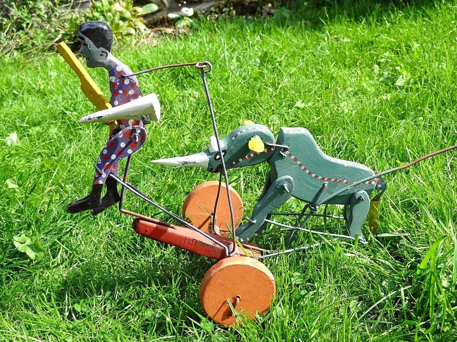 Ancien rare jouet bois à pousser animé rhinocéros rhinocéros rhinocéros chasse Afrique Braconnier 240ee7