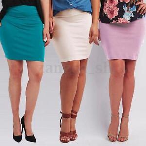 Fashion-Womens-Sexy-Plain-Mini-Skirt-Wrap-OL-Bodycon-Short-Dress-Plus-Size-L-6XL