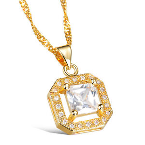 18K-Gold-Plated-Necklace-Pendant-AAA-Cubic-Zirconia-Women-039-s-Singapore-G157