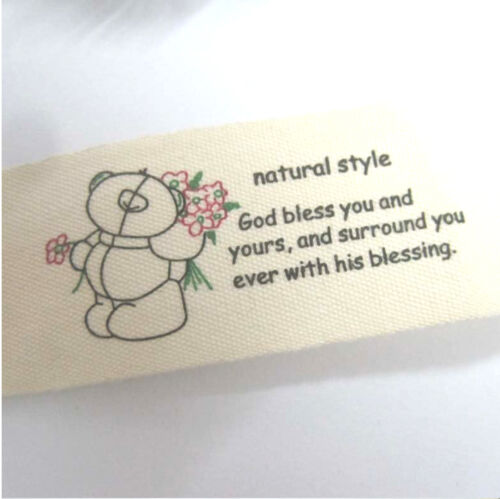 zakka woven cotton label blended ribbon sewing tape fabric trim bear webbing