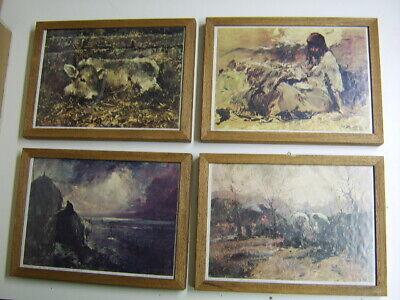 Art Ferruccio Rontini 4 Riproduzioni Stampe Quadro Vitellino-aratura-ritorno-pastor Good Reputation Over The World