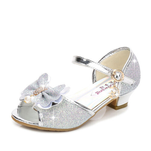 Kids Girls Glitter Peep Toe Princess Shoes Sequin Low Heels Party Dance Shoes