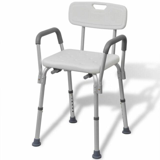 vidaXL Chaise siège de douche salle de bain Aluminium Blanc Hauteur réglable
