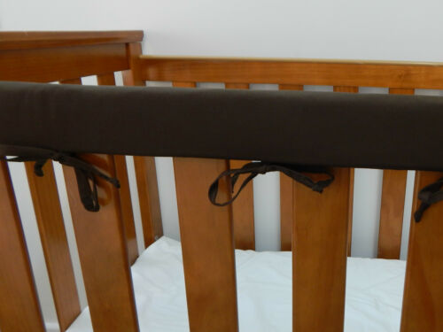 Cot Rail Cover Chocolate Brown Crib Teething Pad SET OF TWO