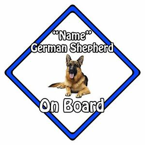 Personalised-Dog-On-Board-Car-Safety-Sign-German-Shepherd-On-Board-Blue