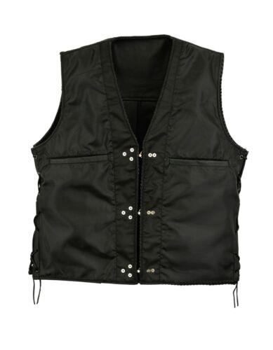 Mens Fish hook buckle side lace biker leather waistcoat motorcycle vest UK Stock