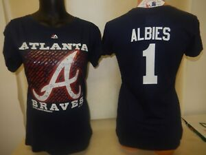 huge discount 58b7f 74be2 Details about 999 WOMENS Ladies Atlanta Braves OZZIE ALBIES Baseball Jersey  Shirt New SMALL