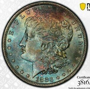1883-O-MORGAN-SILVER-DOLLAR-PCGS-MS63-COLOR-GEM-TONED-RAINBOW-BU-UNC-DR