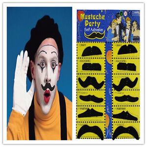 12pcs fake moustache stick on tash mustache fancy dress halloween xmas
