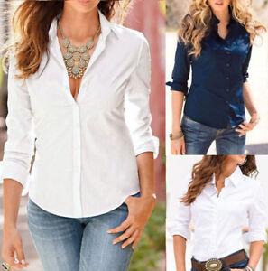 Womens-Summer-Long-Sleeve-Business-OL-Lady-T-Shirt-Top-Button-Down-Blouse-Shirt