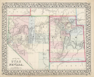 1871-S-A-Mitchell-034-County-Map-of-Utah-and-Nevada-034-Original
