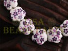 New 10pcs 15mm Flower Porcelain Ceramic Loose Spacer Beads Findings Deep Purple