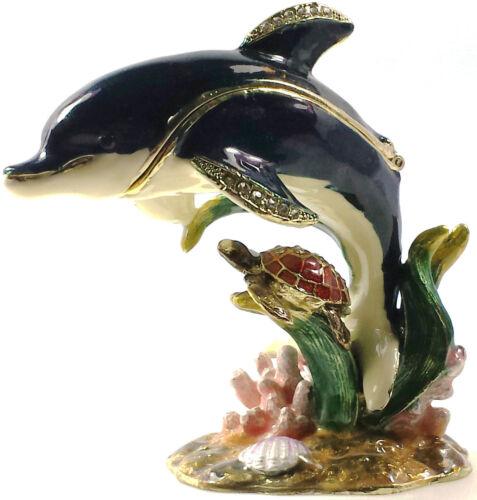 Schildkröte Meer Delfin Seetang Koralle Figur Schmuckschatulle Pillendose Deko