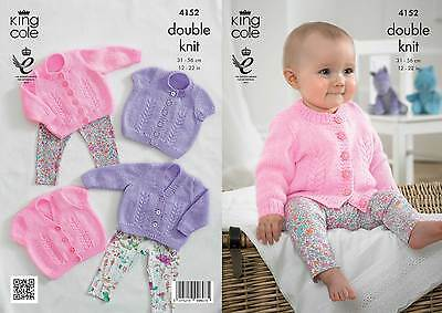 "King Cole Knitting Pattern 4152~Baby Cardigans~DK~12-22/"""