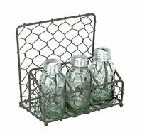 Chicken Wire Salt Pepper And Napkin Caddy Barn Roof, New, Free Shipping on sale