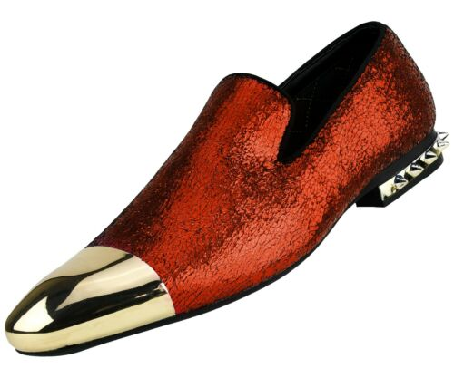 Mens Metallic Colorful Smoking Slippers with Metal Tip Dress Slip On Shoes