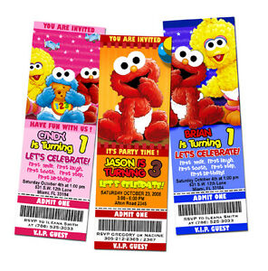 Image Is Loading ELMO SESAME STREET BIRTHDAY PARTY INVITATION TICKET 1ST