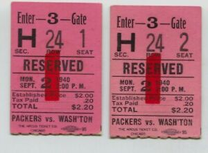 Pair-of-1940-Green-Bay-Packers-vs-Washington-Redskins-Football-Ticket-Stubs