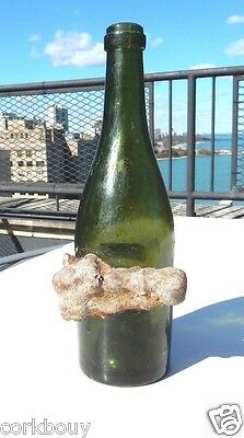 VERY OLD GREEN GLASS WINE BOTTLE SHIPWRECK IRON ERODED ONTO IT.200+ YRS? 375 ML