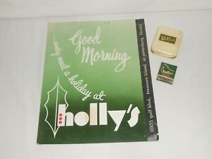 Vintage c1950's Lot from Holly's Restaurant St. Petersburg FL. Menu, Matches +