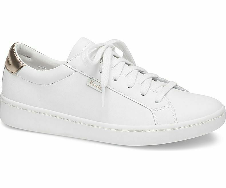 Keds WH59817 Women's Ace Mirror Leather White pink gold shoes, 6 Med