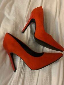 New Look Wide Fit Size 4 Orange Heels