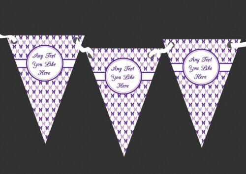 Lilas violet et papillons blancs Personnalisé Fête D/'Anniversaire bunting