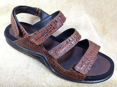ECCO LIGHT Brown Leather Strappy Reptile Print Sandals Womens US 10 Shoes | eBay